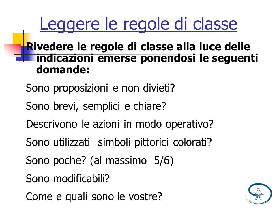 Leggere le regole di classe Rivedere le regole di classe alla luce delle indicazioni emerse ponendosi le seguenti domande: Sono proposizioni e non div