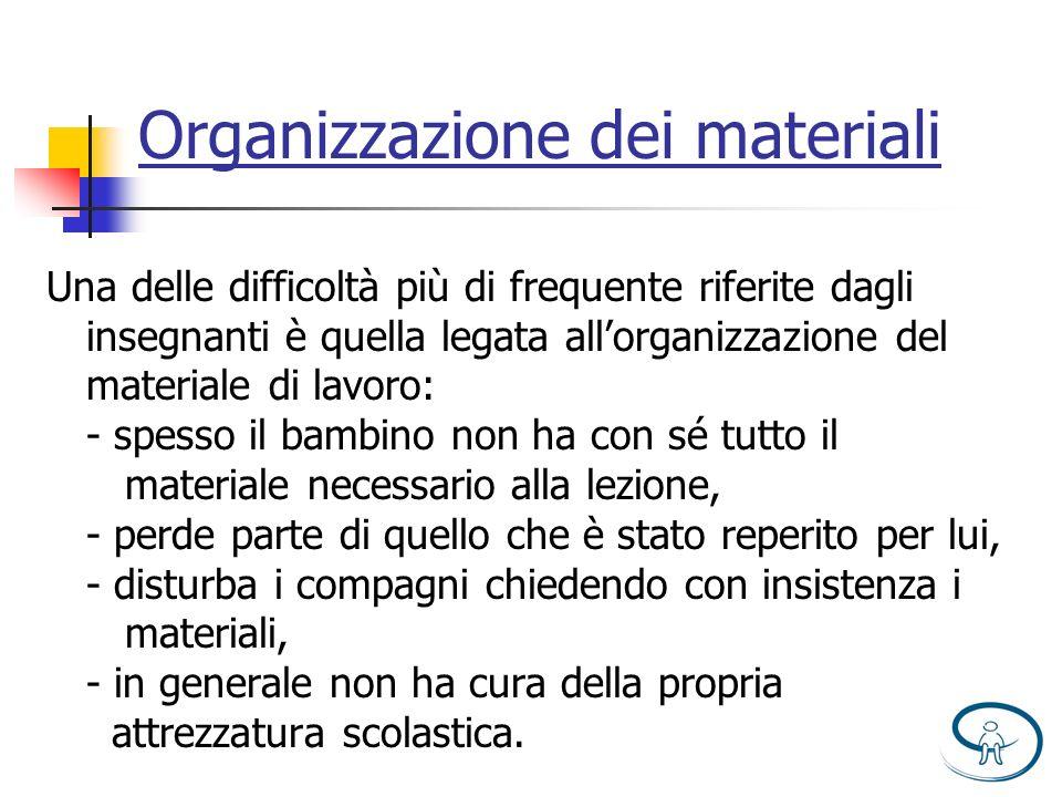 Organizzazione dei materiali Una delle difficoltà più di frequente riferite dagli insegnanti è quella legata allorganizzazione del materiale di lavoro