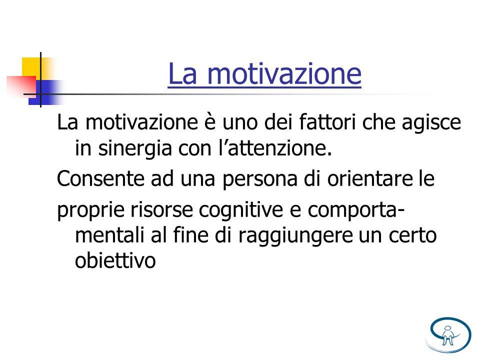 La motivazione La motivazione è uno dei fattori che agisce in sinergia con lattenzione. Consente ad una persona di orientare le proprie risorse cognit
