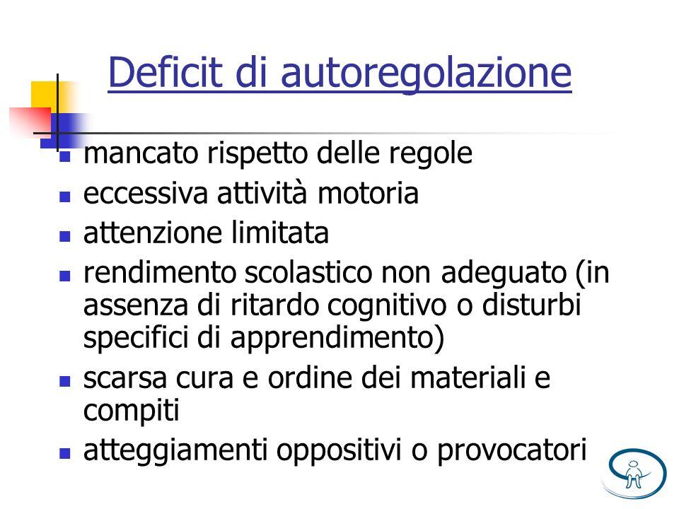 Deficit di autoregolazione mancato rispetto delle regole eccessiva attività motoria attenzione limitata rendimento scolastico non adeguato (in assenza
