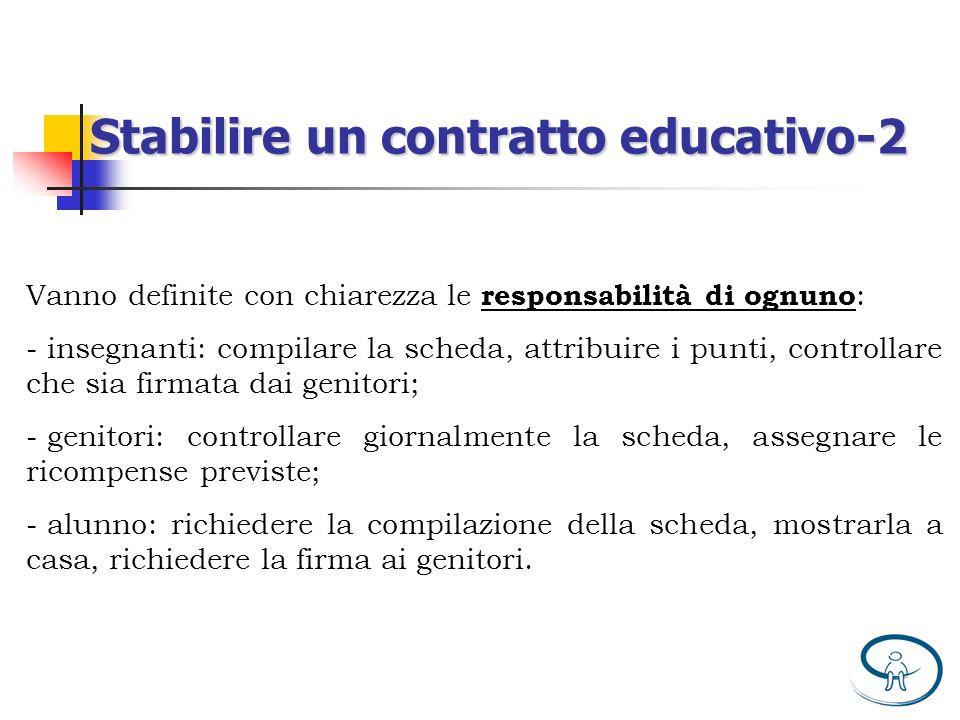 Vanno definite con chiarezza le responsabilità di ognuno : - insegnanti: compilare la scheda, attribuire i punti, controllare che sia firmata dai geni