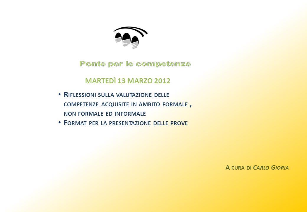 MARTEDÌ 13 MARZO 2012 R IFLESSIONI SULLA VALUTAZIONE DELLE COMPETENZE ACQUISITE IN AMBITO FORMALE, NON FORMALE ED INFORMALE F ORMAT PER LA PRESENTAZIONE DELLE PROVE A CURA DI C ARLO G IORIA