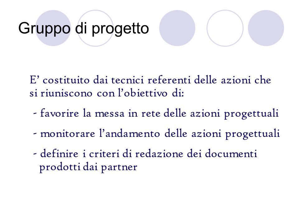 Gruppo di progetto E costituito dai tecnici referenti delle azioni che si riuniscono con lobiettivo di: - favorire la messa in rete delle azioni proge