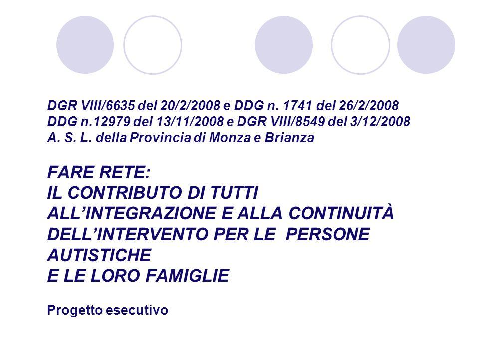 DGR VIII/6635 del 20/2/2008 e DDG n. 1741 del 26/2/2008 DDG n.12979 del 13/11/2008 e DGR VIII/8549 del 3/12/2008 A. S. L. della Provincia di Monza e B
