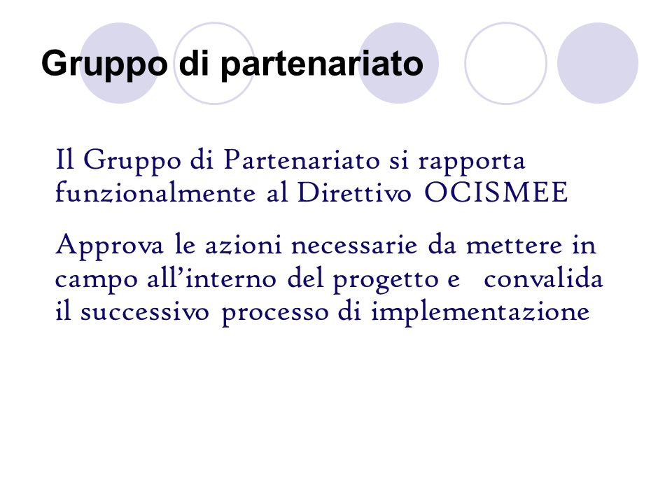 Gruppo di partenariato Il Gruppo di Partenariato si rapporta funzionalmente al Direttivo OCISMEE Approva le azioni necessarie da mettere in campo alli