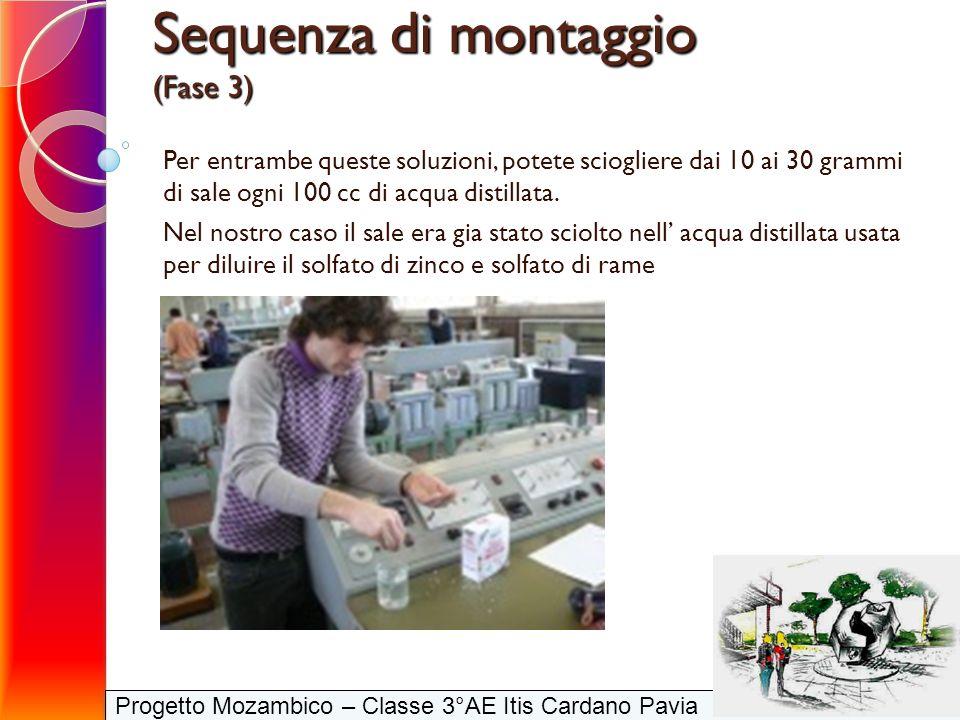Progetto Mozambico – Classe 3°AE Itis Cardano Pavia Sequenza di montaggio (Fase 3) Per entrambe queste soluzioni, potete sciogliere dai 10 ai 30 gramm