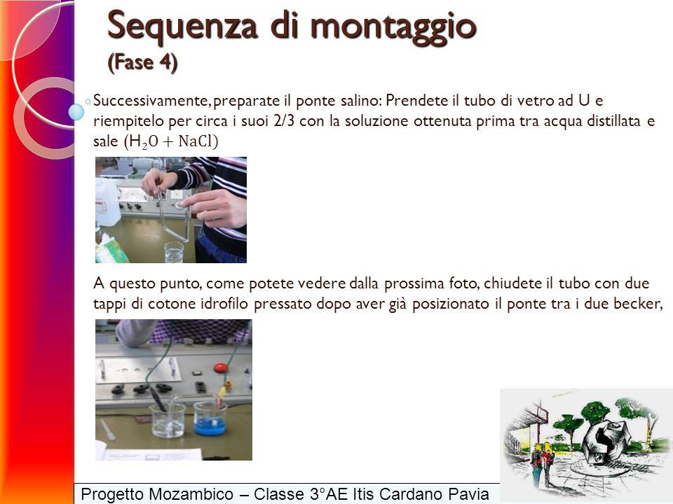 Progetto Mozambico – Classe 3°AE Itis Cardano Pavia Successivamente, preparate il ponte salino: Prendete il tubo di vetro ad U e riempitelo per circa