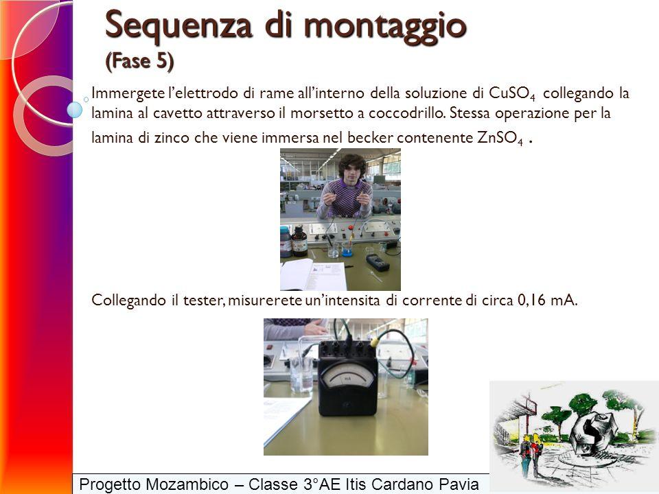 Progetto Mozambico – Classe 3°AE Itis Cardano Pavia Immergete lelettrodo di rame allinterno della soluzione di CuSO 4 collegando la lamina al cavetto