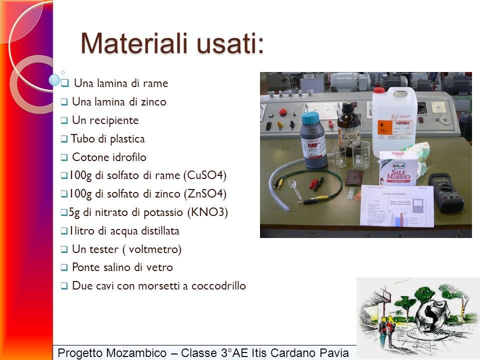 Progetto Mozambico – Classe 3°AE Itis Cardano Pavia Materiali usati: Una lamina di rame Una lamina di zinco Un recipiente Tubo di plastica Cotone idro