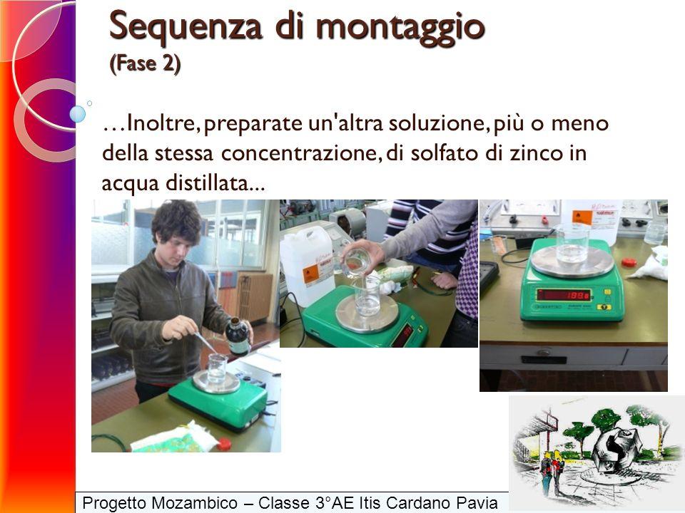 Progetto Mozambico – Classe 3°AE Itis Cardano Pavia Sequenza di montaggio (Fase 2) …Inoltre, preparate un'altra soluzione, più o meno della stessa con