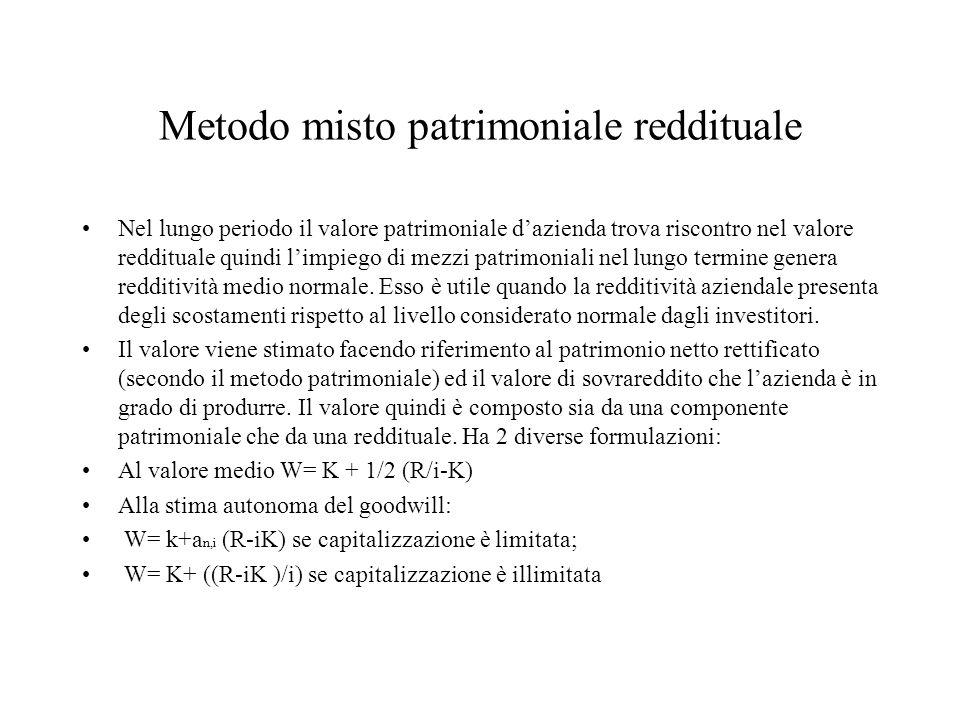 Metodo misto patrimoniale reddituale Nel lungo periodo il valore patrimoniale dazienda trova riscontro nel valore reddituale quindi limpiego di mezzi patrimoniali nel lungo termine genera redditività medio normale.
