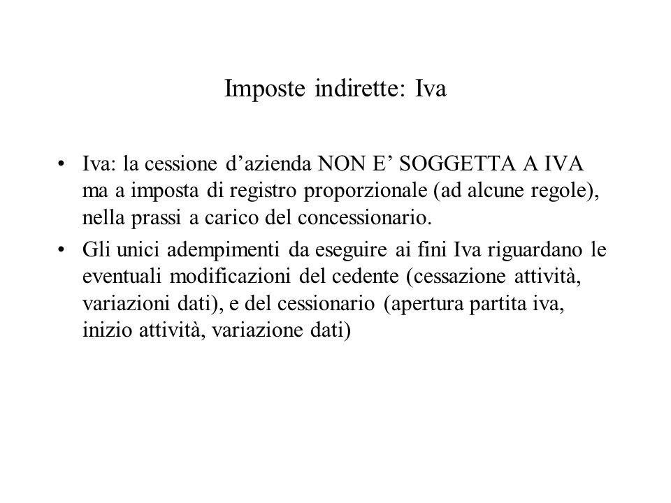 Imposte indirette: Iva Iva: la cessione dazienda NON E SOGGETTA A IVA ma a imposta di registro proporzionale (ad alcune regole), nella prassi a carico del concessionario.