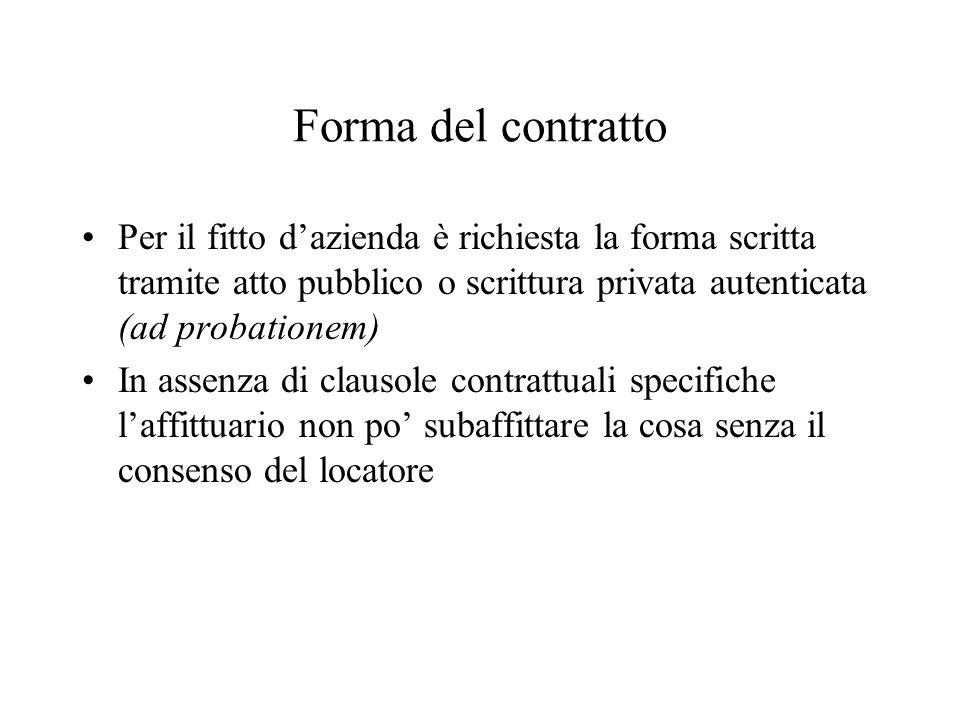 Forma del contratto Per il fitto dazienda è richiesta la forma scritta tramite atto pubblico o scrittura privata autenticata (ad probationem) In assenza di clausole contrattuali specifiche laffittuario non po subaffittare la cosa senza il consenso del locatore