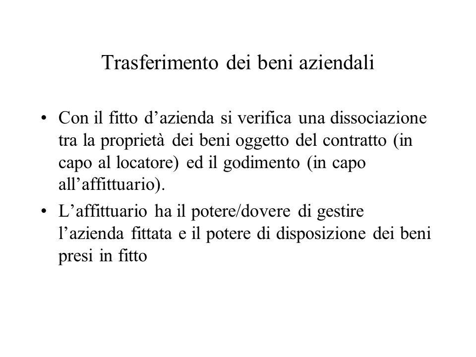 Trasferimento dei beni aziendali Con il fitto dazienda si verifica una dissociazione tra la proprietà dei beni oggetto del contratto (in capo al locatore) ed il godimento (in capo allaffittuario).