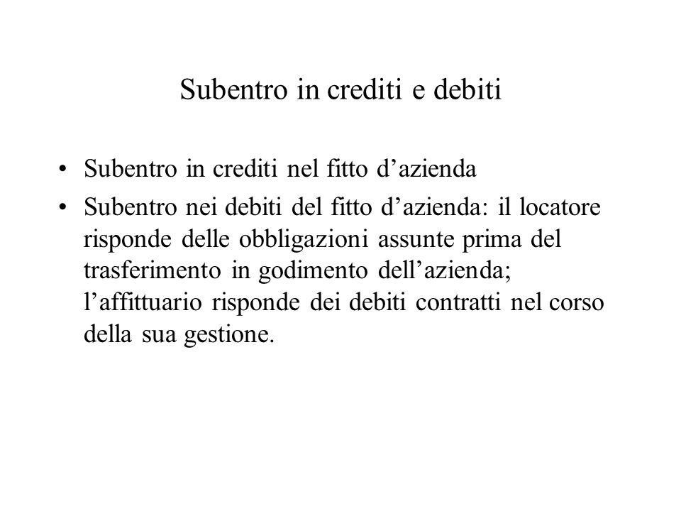 Subentro in crediti e debiti Subentro in crediti nel fitto dazienda Subentro nei debiti del fitto dazienda: il locatore risponde delle obbligazioni as