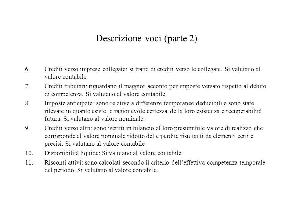 Descrizione voci (parte 2) 6.Crediti verso imprese collegate: si tratta di crediti verso le collegate. Si valutano al valore contabile 7.Crediti tribu