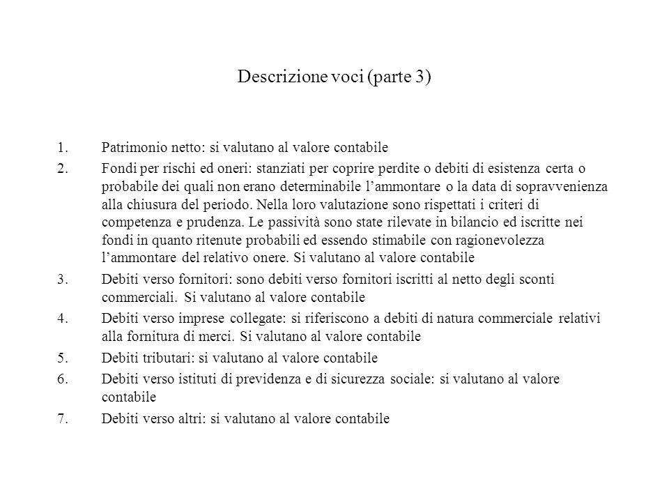 Descrizione voci (parte 3) 1.Patrimonio netto: si valutano al valore contabile 2.Fondi per rischi ed oneri: stanziati per coprire perdite o debiti di