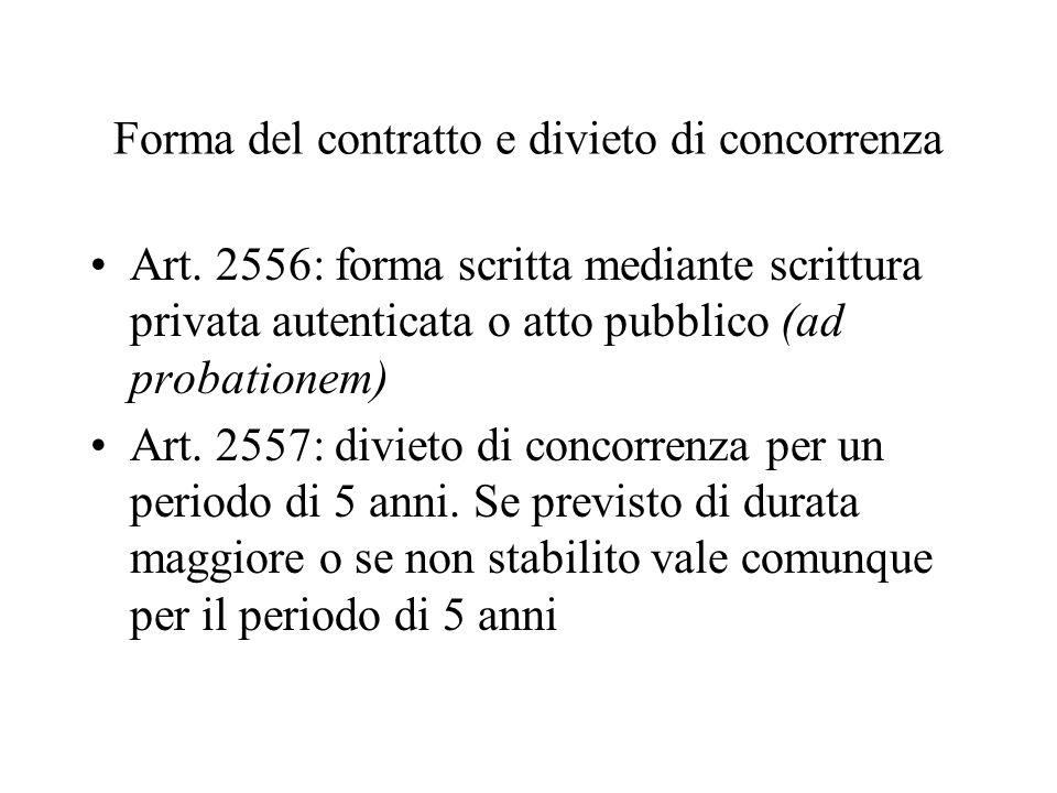 Forma del contratto e divieto di concorrenza Art. 2556: forma scritta mediante scrittura privata autenticata o atto pubblico (ad probationem) Art. 255