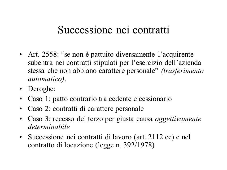 Successione nei contratti Art. 2558: se non è pattuito diversamente lacquirente subentra nei contratti stipulati per lesercizio dellazienda stessa che