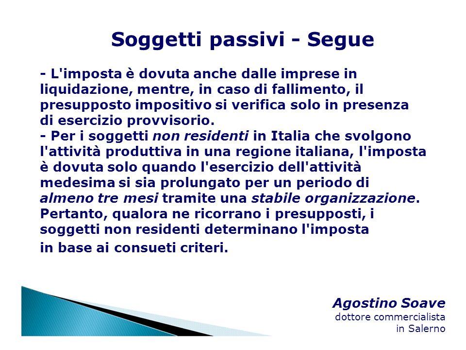 Agostino Soave dottore commercialista in Salerno Soggetti passivi - Segue - L'imposta è dovuta anche dalle imprese in liquidazione, mentre, in caso di