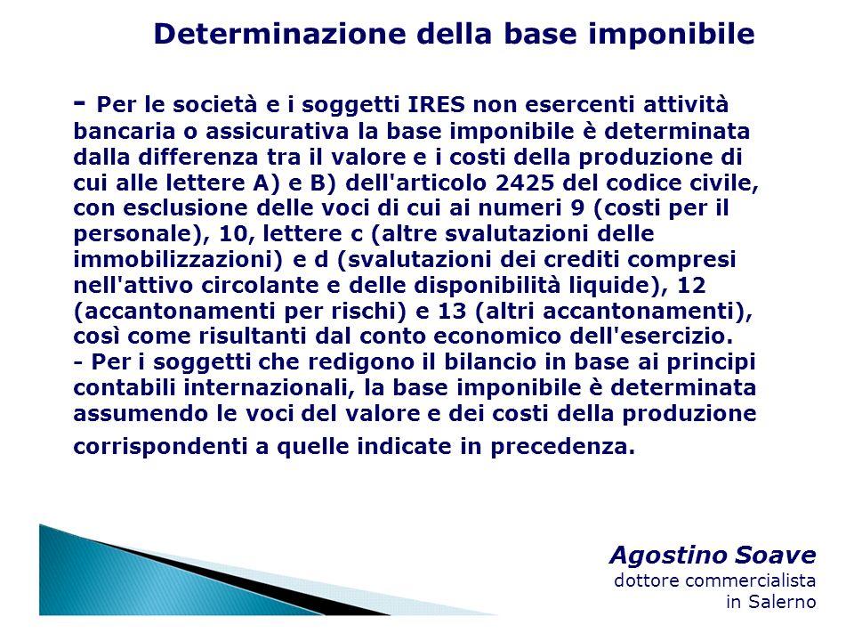 Agostino Soave dottore commercialista in Salerno Determinazione della base imponibile - Per le società e i soggetti IRES non esercenti attività bancar