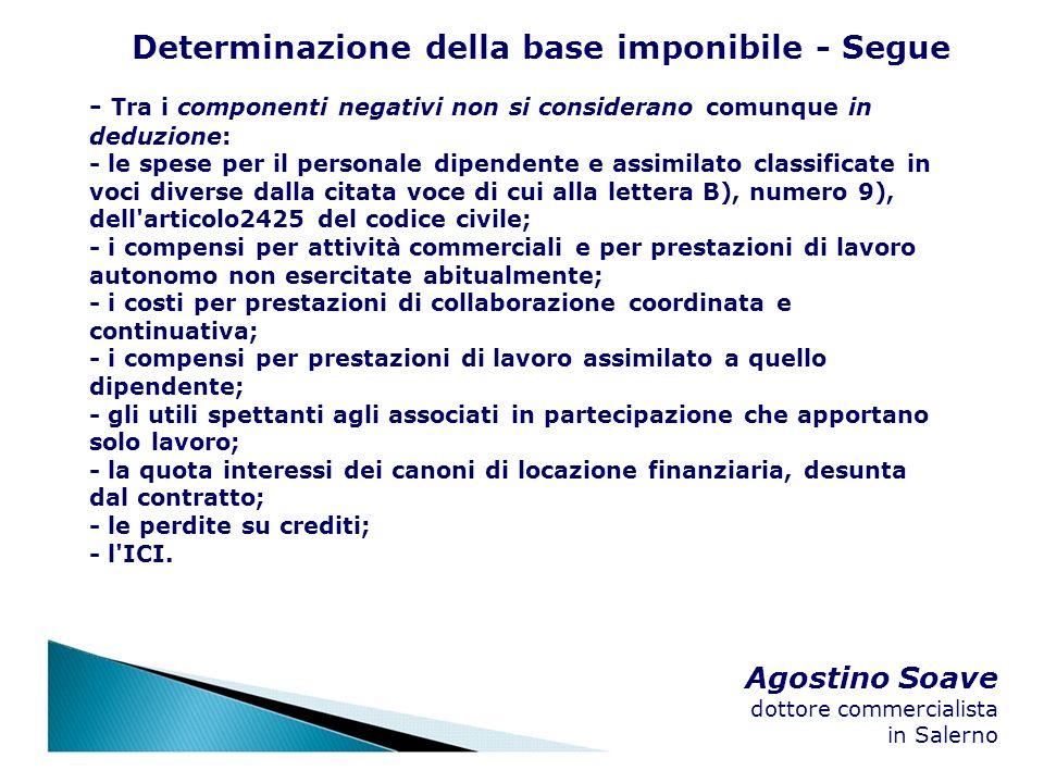 Agostino Soave dottore commercialista in Salerno Determinazione della base imponibile - Segue - Tra i componenti negativi non si considerano comunque