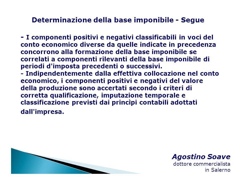Agostino Soave dottore commercialista in Salerno Determinazione della base imponibile - Segue - I componenti positivi e negativi classificabili in voc