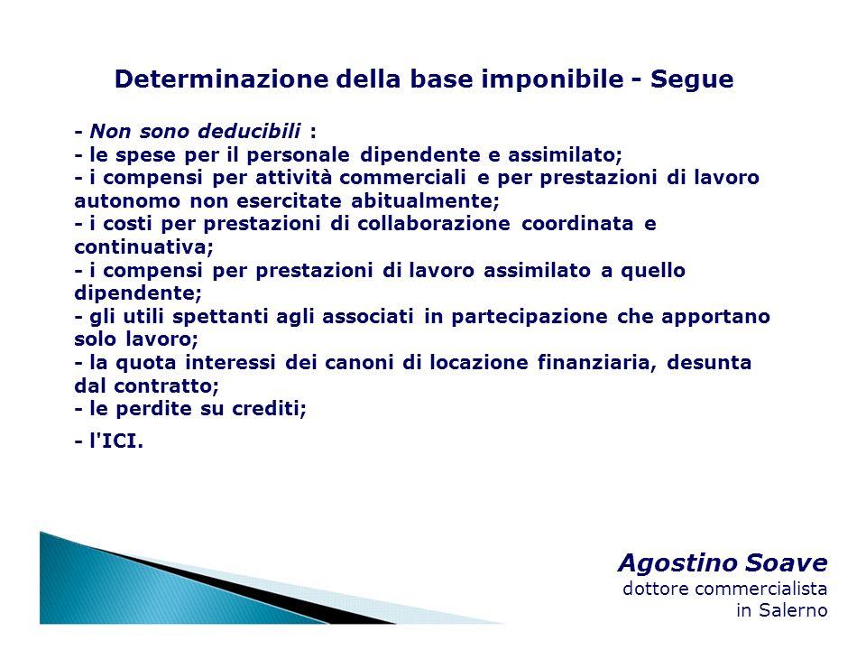 Agostino Soave dottore commercialista in Salerno Determinazione della base imponibile - Segue - Non sono deducibili : - le spese per il personale dipe