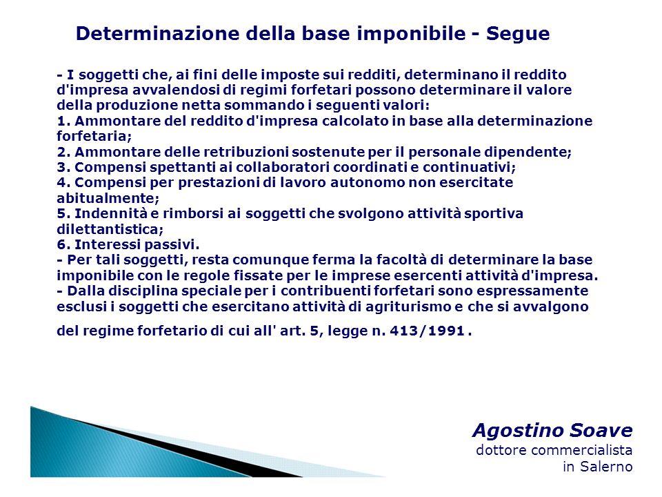 Agostino Soave dottore commercialista in Salerno Determinazione della base imponibile - Segue - I soggetti che, ai fini delle imposte sui redditi, det