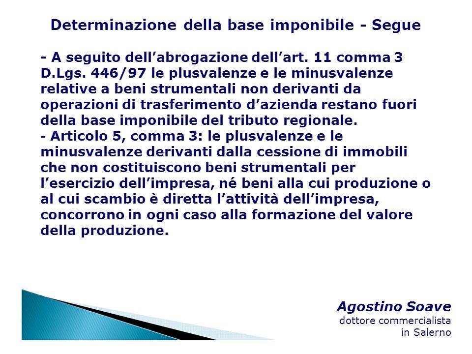 Agostino Soave dottore commercialista in Salerno Determinazione della base imponibile - Segue - A seguito dellabrogazione dellart. 11 comma 3 D.Lgs. 4