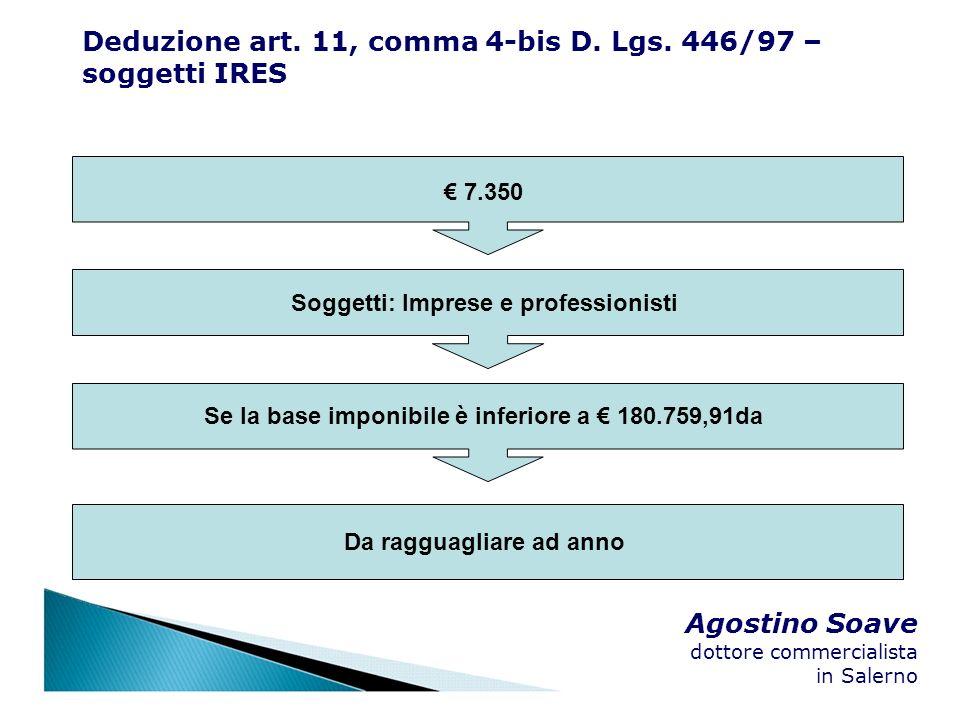 Agostino Soave dottore commercialista in Salerno 7.350 Soggetti: Imprese e professionisti Se la base imponibile è inferiore a 180.759,91da Da ragguagl