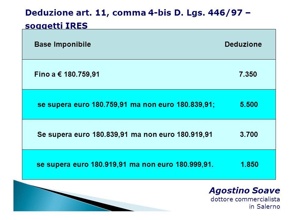 Agostino Soave dottore commercialista in Salerno Deduzione art. 11, comma 4-bis D. Lgs. 446/97 – soggetti IRES Base Imponibile Deduzione Fino a 180.75