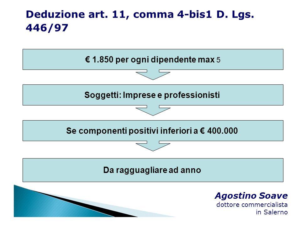 Agostino Soave dottore commercialista in Salerno 1.850 per ogni dipendente max 5 Soggetti: Imprese e professionisti Se componenti positivi inferiori a