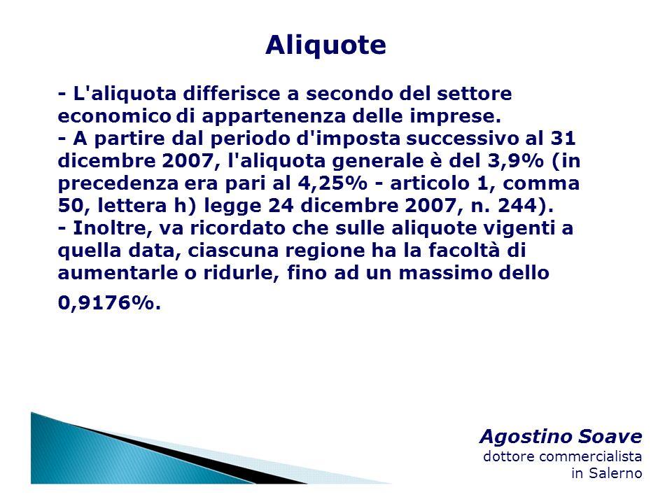 Agostino Soave dottore commercialista in Salerno Aliquote - L'aliquota differisce a secondo del settore economico di appartenenza delle imprese. - A p