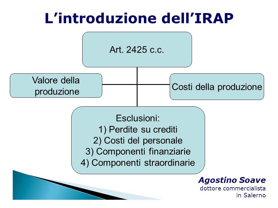 Agostino Soave dottore commercialista in Salerno Art. 2425 c.c. Valore della produzione Costi della produzione Lintroduzione dellIRAP Esclusioni: 1) P