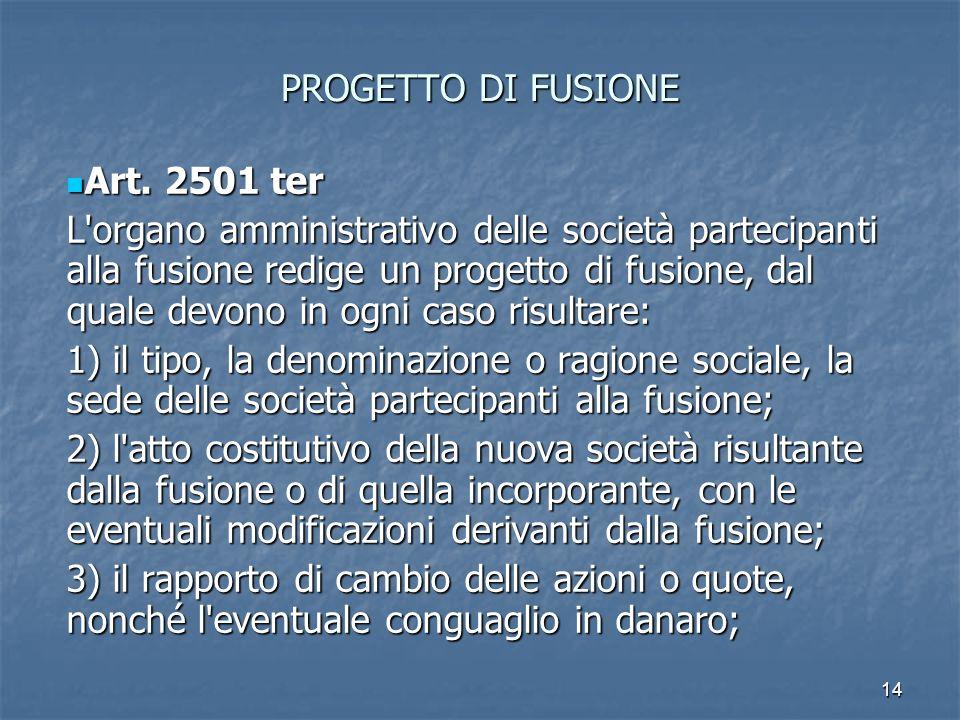 14 PROGETTO DI FUSIONE Art. 2501 ter Art. 2501 ter L'organo amministrativo delle società partecipanti alla fusione redige un progetto di fusione, dal