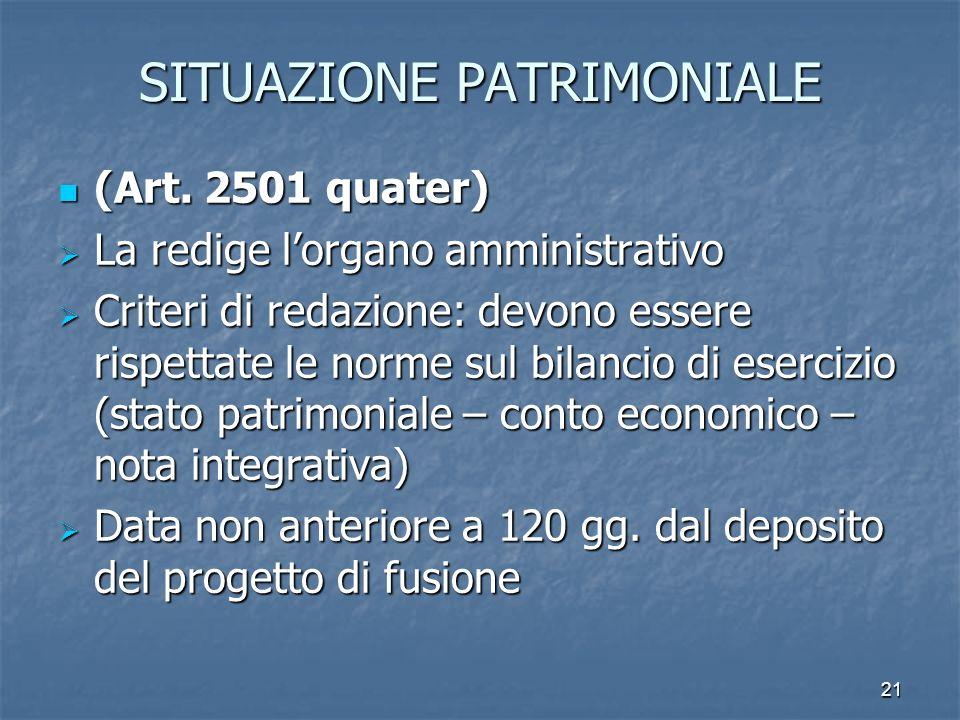 21 SITUAZIONE PATRIMONIALE (Art. 2501 quater) (Art. 2501 quater) La redige lorgano amministrativo La redige lorgano amministrativo Criteri di redazion