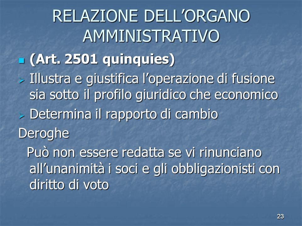 23 RELAZIONE DELLORGANO AMMINISTRATIVO (Art. 2501 quinquies) (Art. 2501 quinquies) Illustra e giustifica loperazione di fusione sia sotto il profilo g