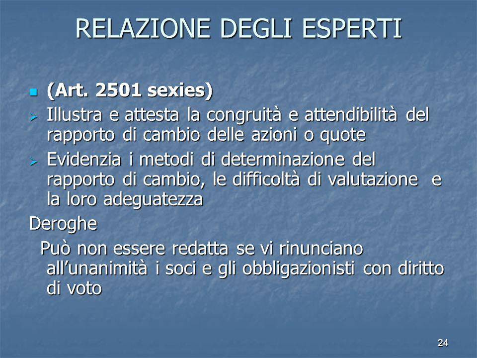 24 RELAZIONE DEGLI ESPERTI (Art. 2501 sexies) (Art. 2501 sexies) Illustra e attesta la congruità e attendibilità del rapporto di cambio delle azioni o