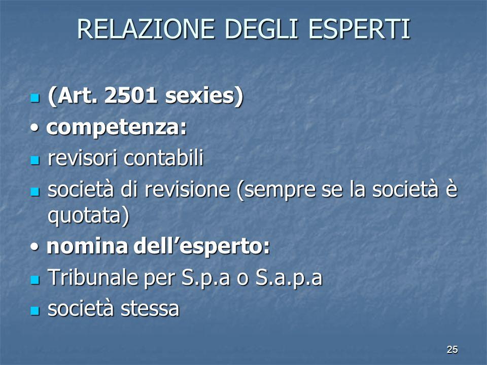 25 RELAZIONE DEGLI ESPERTI (Art. 2501 sexies) (Art. 2501 sexies) competenza: competenza: revisori contabili revisori contabili società di revisione (s