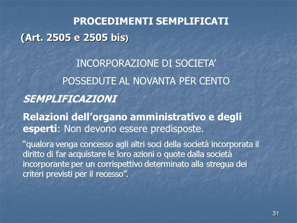 31 PROCEDIMENTI SEMPLIFICATI (Art. 2505 e 2505 bis ) INCORPORAZIONE DI SOCIETA POSSEDUTE AL NOVANTA PER CENTO SEMPLIFICAZIONI Relazioni dellorgano amm