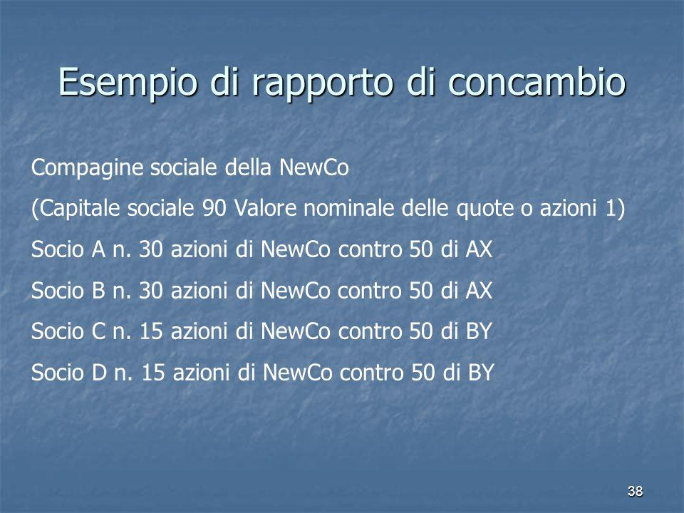 38 Esempio di rapporto di concambio Compagine sociale della NewCo (Capitale sociale 90 Valore nominale delle quote o azioni 1) Socio A n. 30 azioni di