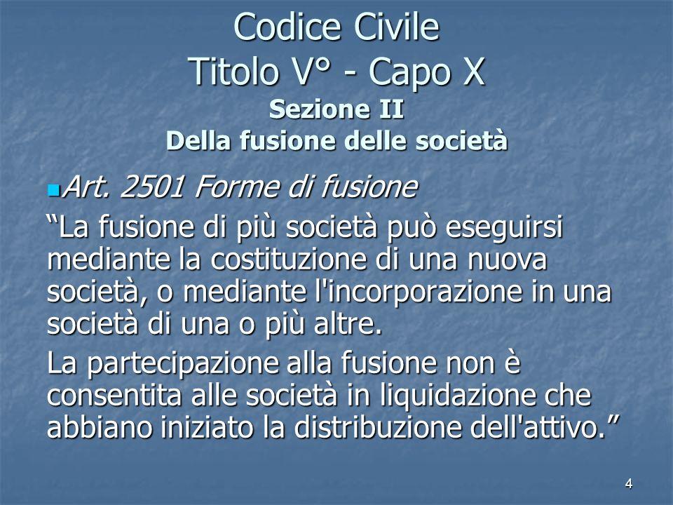 4 Codice Civile Titolo V° - Capo X Sezione II Della fusione delle società Art. 2501 Forme di fusione Art. 2501 Forme di fusione La fusione di più soci