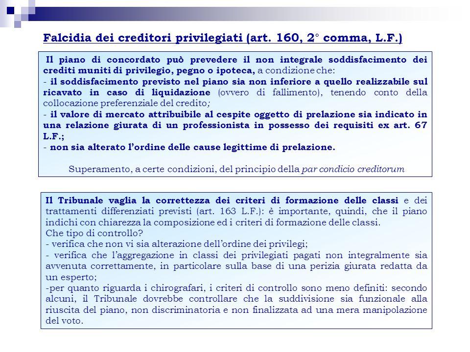 Il piano di concordato può prevedere il non integrale soddisfacimento dei crediti muniti di privilegio, pegno o ipoteca, a condizione che: - il soddis