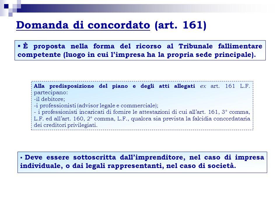 Domanda di concordato (art. 161) È proposta nella forma del ricorso al Tribunale fallimentare competente (luogo in cui limpresa ha la propria sede pri