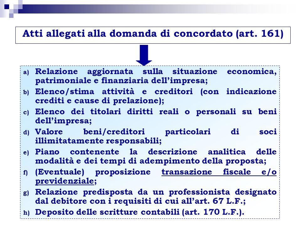 Atti allegati alla domanda di concordato (art. 161) a) Relazione aggiornata sulla situazione economica, patrimoniale e finanziaria dellimpresa; b) Ele