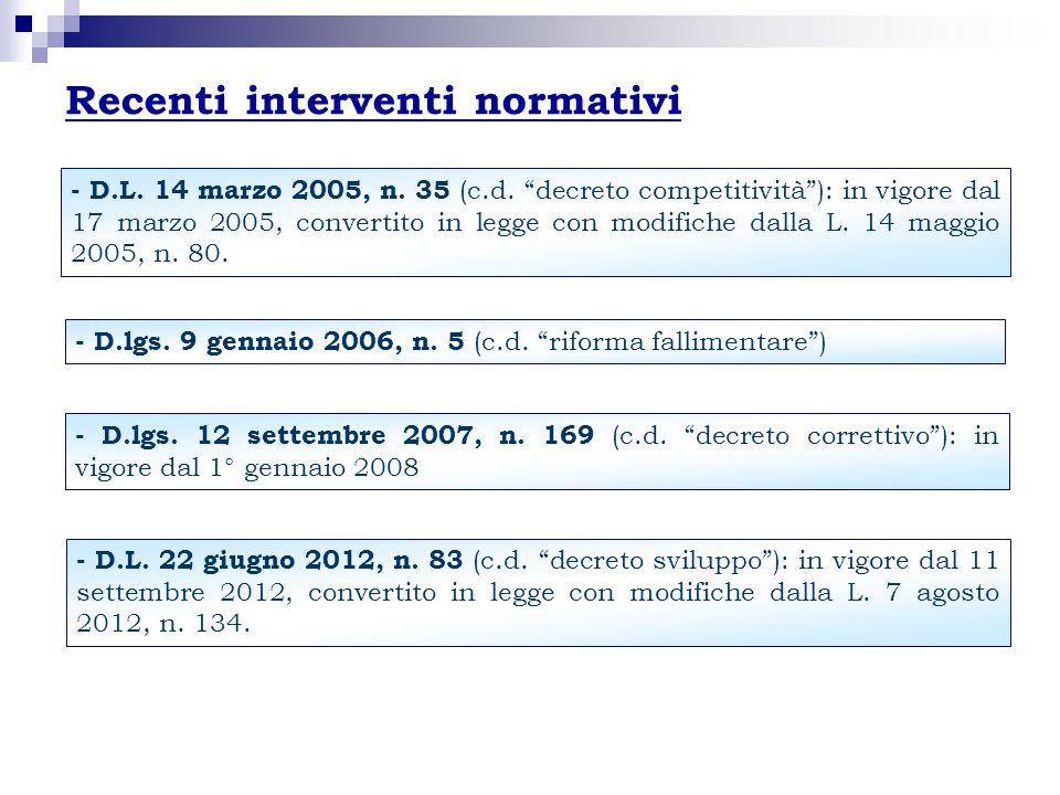 Recenti interventi normativi - D.L. 14 marzo 2005, n. 35 (c.d. decreto competitività): in vigore dal 17 marzo 2005, convertito in legge con modifiche
