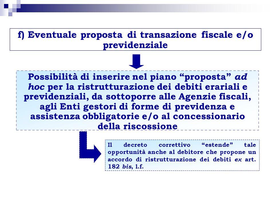 f) Eventuale proposta di transazione fiscale e/o previdenziale Possibilità di inserire nel piano proposta ad hoc per la ristrutturazione dei debiti er