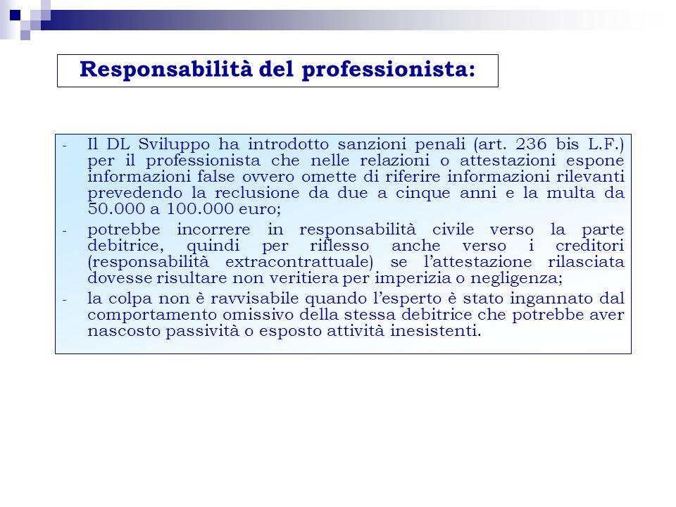 - Il DL Sviluppo ha introdotto sanzioni penali (art. 236 bis L.F.) per il professionista che nelle relazioni o attestazioni espone informazioni false