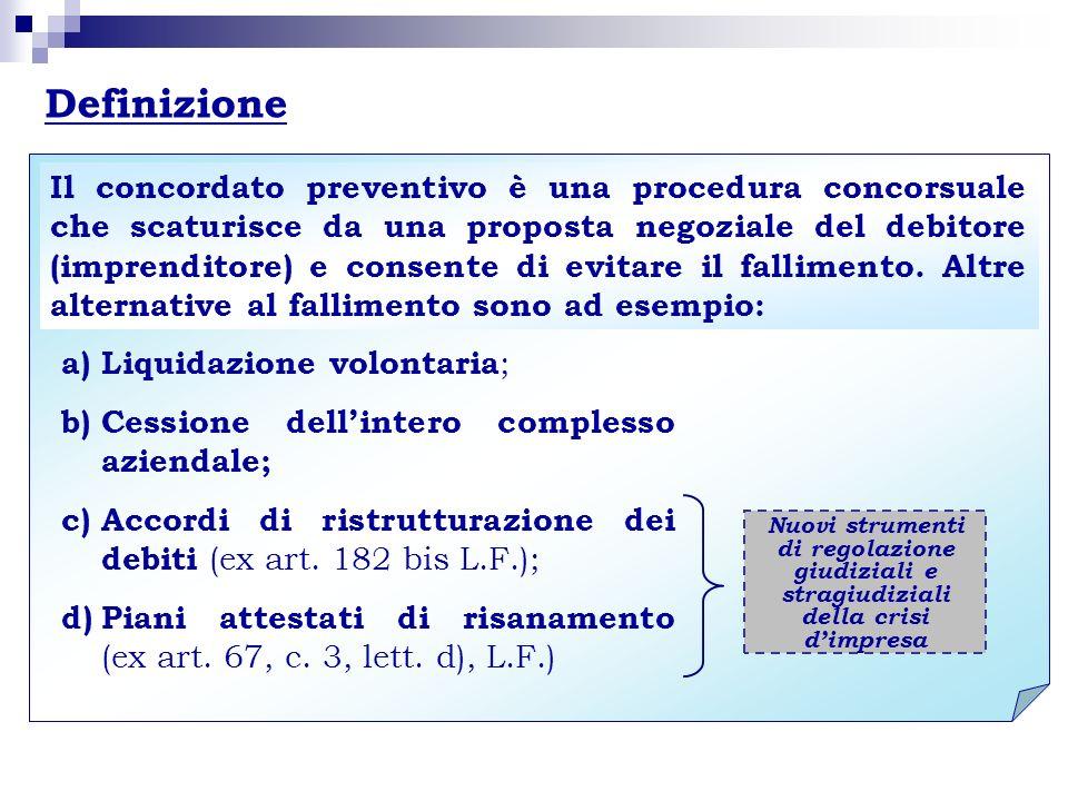Definizione Nuovi strumenti di regolazione giudiziali e stragiudiziali della crisi dimpresa a)Liquidazione volontaria ; b)Cessione dellintero compless